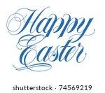 happy easter script vector hand ... | Shutterstock .eps vector #74569219