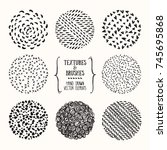 hand drawn textures and brushes.... | Shutterstock .eps vector #745695868