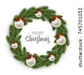 merry christmas or xmas and new ... | Shutterstock .eps vector #745701052