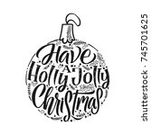 merry christmas typography ... | Shutterstock .eps vector #745701625