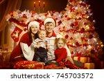 christmas family portrait in... | Shutterstock . vector #745703572