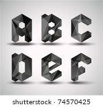 trendy black fractal geometric... | Shutterstock .eps vector #74570425