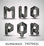 trendy black fractal geometric... | Shutterstock .eps vector #74570431