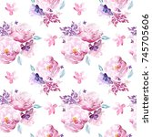 seamless watercolor floral... | Shutterstock . vector #745705606