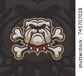 bulldog with bones mascot logo... | Shutterstock .eps vector #745707028