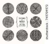 hand drawn wavy linear textures ... | Shutterstock .eps vector #745709572