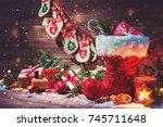 christmas background. advent...   Shutterstock . vector #745711648