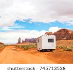 motor home on the road in... | Shutterstock . vector #745713538