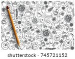 hand drawn indian food vector... | Shutterstock .eps vector #745721152