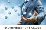 businessman throws up interest... | Shutterstock . vector #745721398