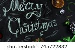 christmas background with a... | Shutterstock . vector #745722832
