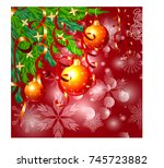 a square red christmas... | Shutterstock .eps vector #745723882
