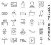 public house icons set. outline ... | Shutterstock . vector #745728376