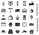 lodge icons set. simple set of... | Shutterstock . vector #745730212
