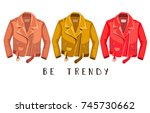 leather jacket. be trendy. ... | Shutterstock .eps vector #745730662