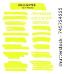 vector yellow highlighter brush ... | Shutterstock .eps vector #745734325