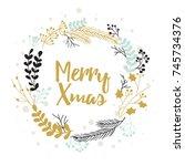 christmas greeting card design... | Shutterstock .eps vector #745734376