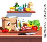 home chef meal ingredients kit... | Shutterstock .eps vector #745734925
