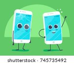 old sad broken phone with... | Shutterstock .eps vector #745735492