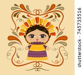 mexican doll with decorative... | Shutterstock .eps vector #745735516