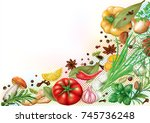 aromatic spices  herbs and...   Shutterstock .eps vector #745736248