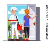 delivery man in chef cook... | Shutterstock .eps vector #745737205