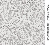 winter seamless pattern. hand... | Shutterstock .eps vector #745737922