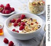 healthy breakfast. fresh... | Shutterstock . vector #745740898