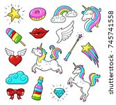 unicorns icon set. cute fantasy ... | Shutterstock .eps vector #745741558