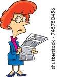 cartoon businesswoman looking... | Shutterstock .eps vector #745750456