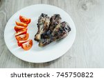 the white plate is a meat... | Shutterstock . vector #745750822
