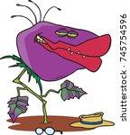cartoon purple people eating... | Shutterstock .eps vector #745754596