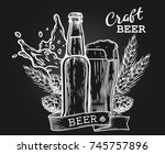 wheat beer ads  beer bottle and ... | Shutterstock .eps vector #745757896