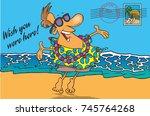 cartoon postcard of a man on a...   Shutterstock .eps vector #745764268