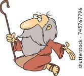cartoon prophet with a long... | Shutterstock .eps vector #745767796