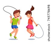 two happy excited kids boy and... | Shutterstock .eps vector #745778698