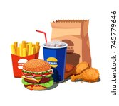 fast food meal set with classic ... | Shutterstock .eps vector #745779646