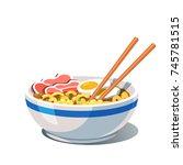 tonkotsu ramen soup bowl with... | Shutterstock .eps vector #745781515