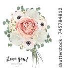 flower bouquet floral bunch ...   Shutterstock .eps vector #745784812
