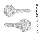 key made from circuit line  on... | Shutterstock .eps vector #745789552