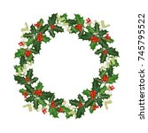 christmas wreath decorated with ... | Shutterstock .eps vector #745795522