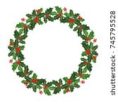 christmas wreath decorated with ... | Shutterstock .eps vector #745795528