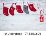 christmas wooden background... | Shutterstock . vector #745801606