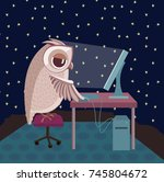 raster illustration. owl... | Shutterstock . vector #745804672