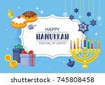 hanukkah banner design. menorah ... | Shutterstock .eps vector #745808458