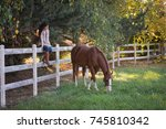 a woman watches her horse as... | Shutterstock . vector #745810342