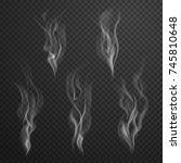 white cigarette smoke waves... | Shutterstock .eps vector #745810648
