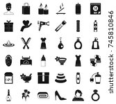 woman thing icons set. simple... | Shutterstock . vector #745810846