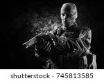 the soldier of the special unit ... | Shutterstock . vector #745813585
