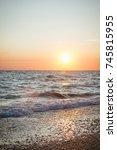 beautiful sunset on the summer... | Shutterstock . vector #745815955